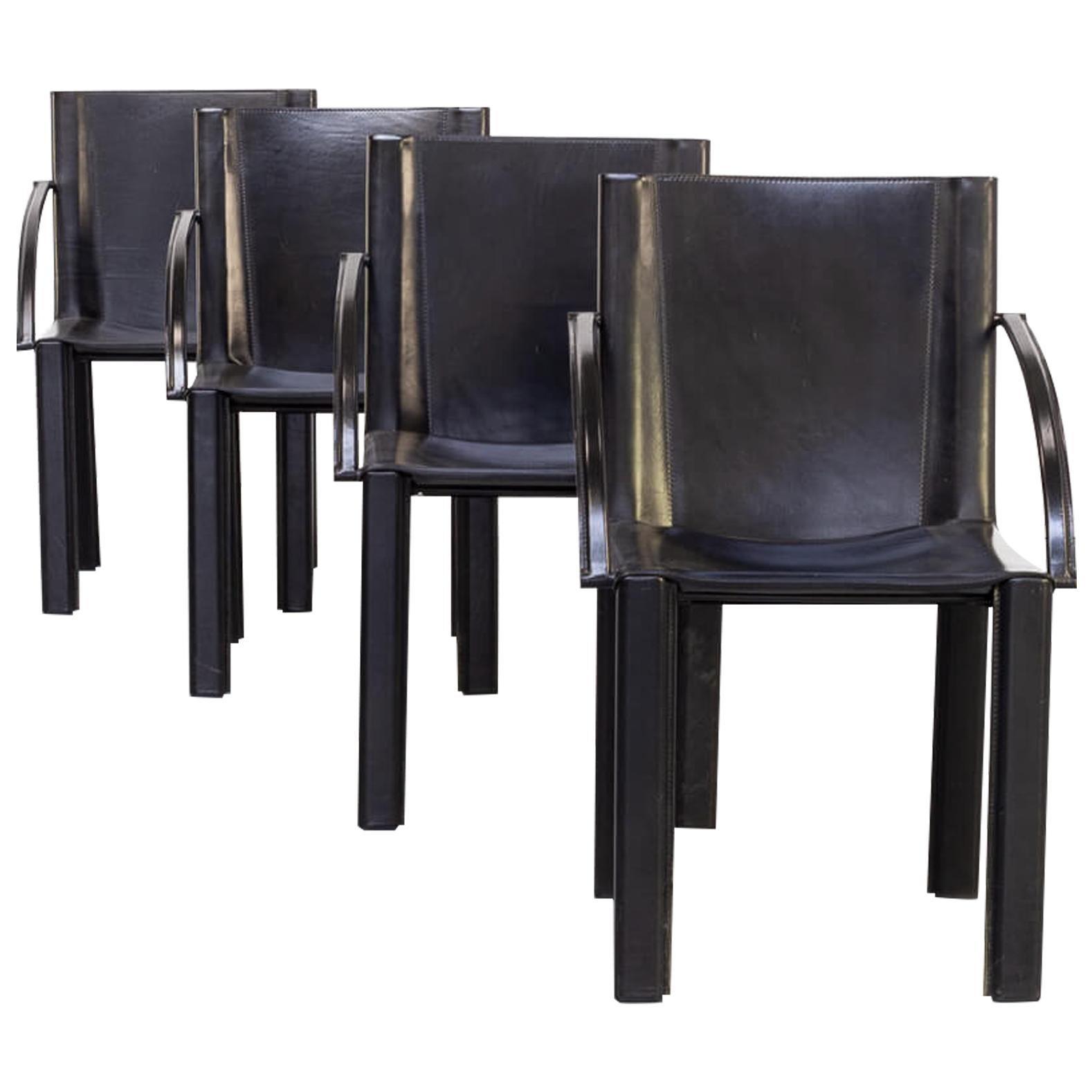70s Carlo Bartoli Black Leather Dining Chair for Matteo Grassi Set/4