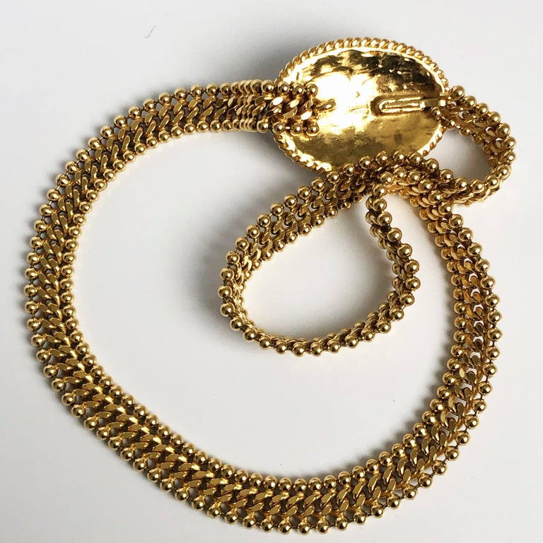 70s Chanel Byzantine Chain Belt with Faux Pearl Red Green Poured Glass Buckle M For Sale 6