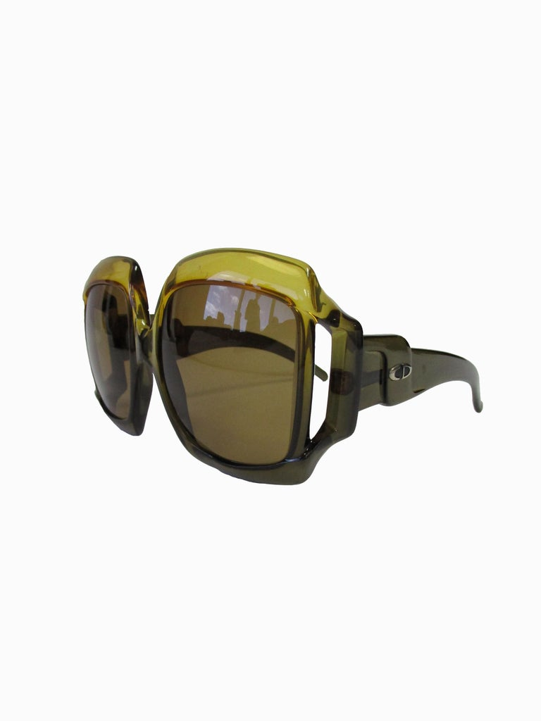 70s Christian Dior Green Brown Over-sized Optyl Sunglasses  In Good Condition For Sale In Houston, TX