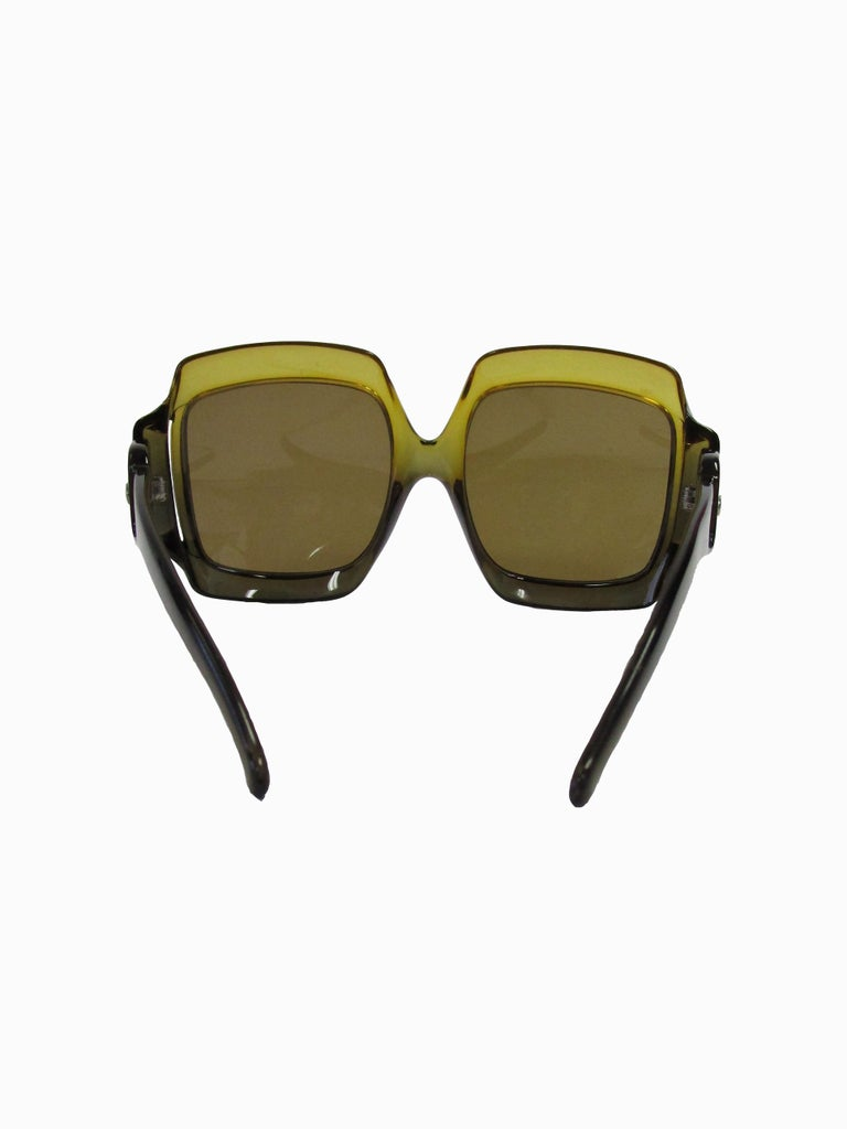 70s Christian Dior Green Brown Over-sized Optyl Sunglasses  For Sale 1