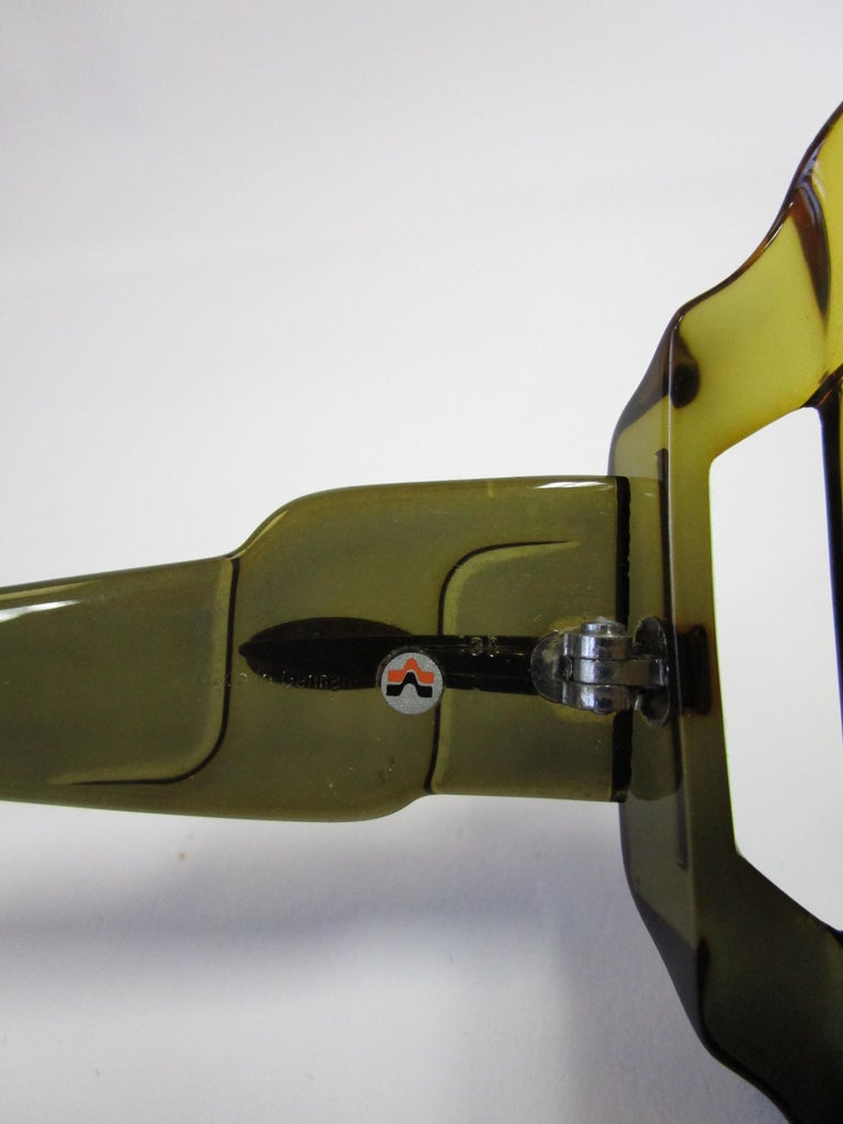 70s Christian Dior Green Brown Over-sized Optyl Sunglasses  For Sale 2