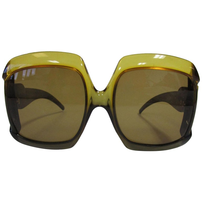 70s Christian Dior Green Brown Over-sized Optyl Sunglasses  For Sale