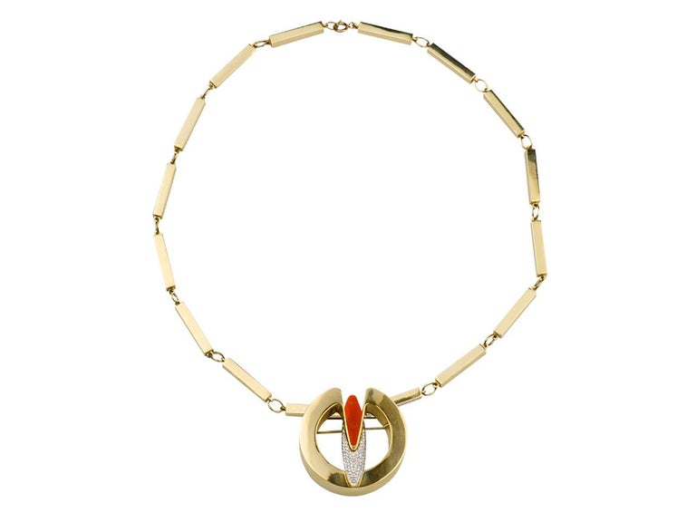18K gold pendant necklace set with diamonds and coral. 18K ITALY.