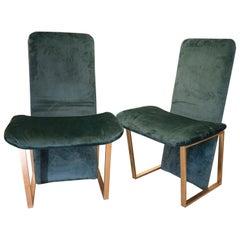 """70s Couple Green Chairs, Italian Kazuhide Takahama """"Kazuki"""" Green and Brass"""
