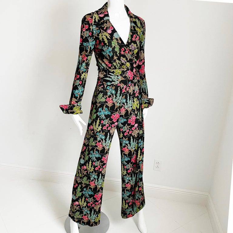 Women's 70s Diane Von Furstenberg Blouse and Pants Set Floral Jersey Sz 12 For Sale