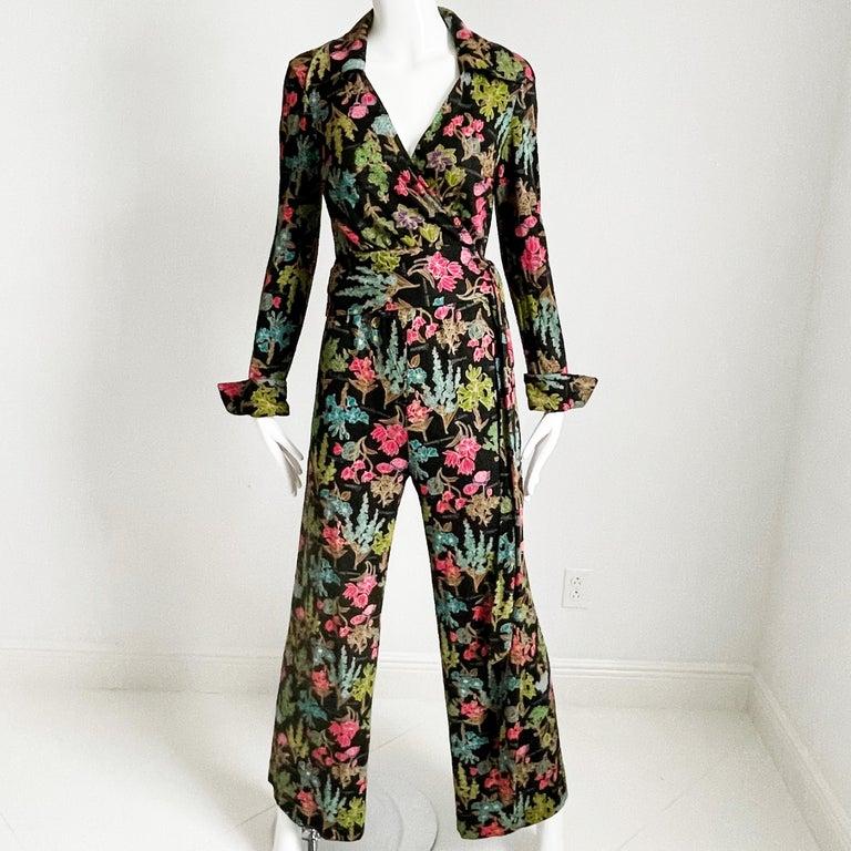 70s Diane Von Furstenberg Blouse and Pants Set Floral Jersey Sz 12 For Sale 1