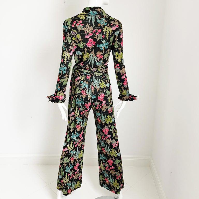 70s Diane Von Furstenberg Blouse and Pants Set Floral Jersey Sz 12 For Sale 3