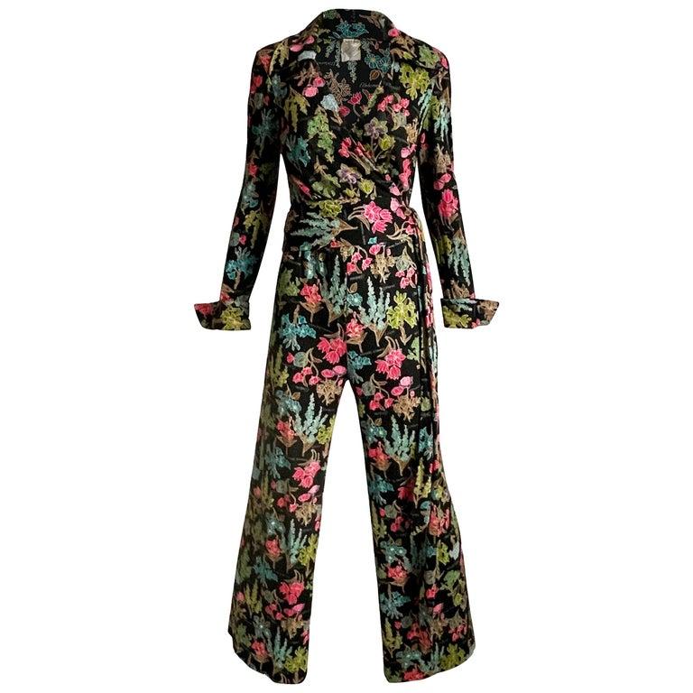 70s Diane Von Furstenberg Blouse and Pants Set Floral Jersey Sz 12 For Sale