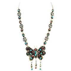 70'S Erika Hult Sterling Turquoise Coral & Amethyst Butterfly Necklace-Taxco