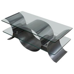 1970s French Glass Stainless Steel Coffee Table by Francois Monnet