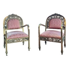 1970s French Hollywood Regency Armchairs Gold Colored Metal and Old Pink Fabric