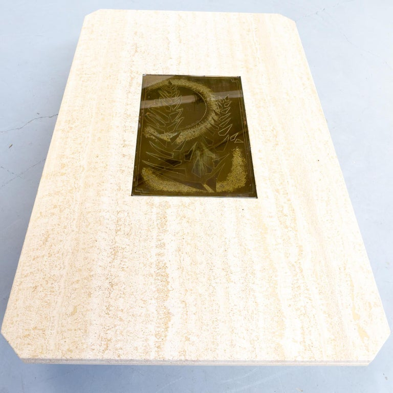Belgian 70s George Mathias Coffee Table with Etched Artwork by Maho Nr 12/50 For Sale