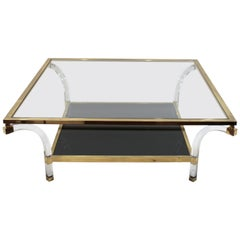 1970s Glass Coffee Table by Maison Jansen