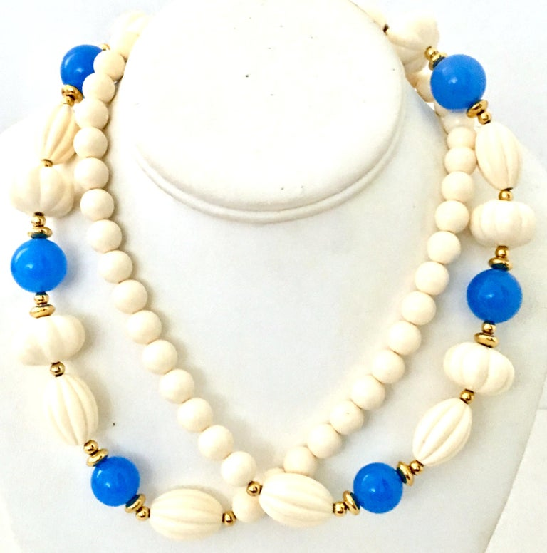 1970'S Gold, Blue & Ivory Lucite Bead Necklace. This new with the original Trifari manufacturer paper hang tag 36