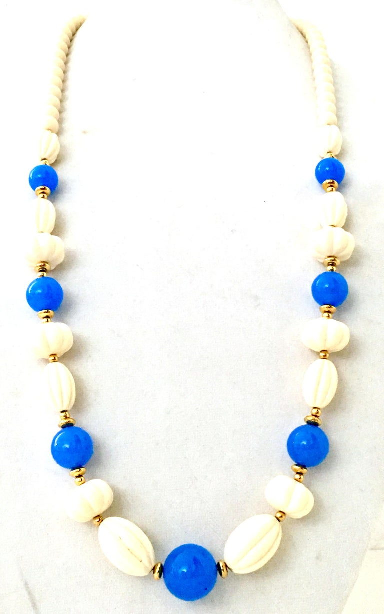 70'S Gold, Blue & Ivory Lucite Bead Necklace By, Trifari In Excellent Condition For Sale In West Palm Beach, FL