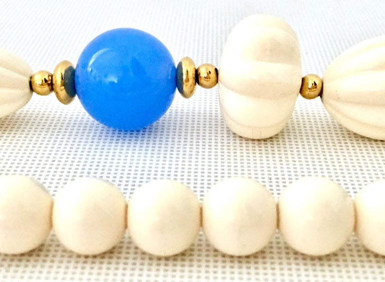 70'S Gold, Blue & Ivory Lucite Bead Necklace By, Trifari For Sale 3