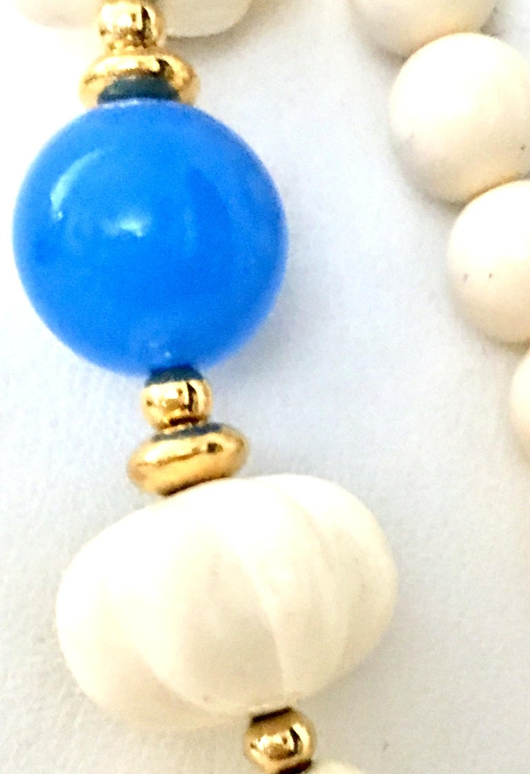 70'S Gold, Blue & Ivory Lucite Bead Necklace By, Trifari For Sale 4