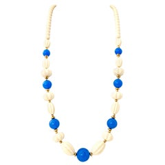 70'S Gold, Blue & Ivory Lucite Bead Necklace By, Trifari