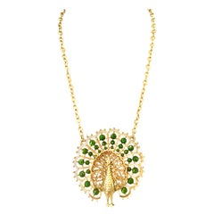 70'S Gold Plate & Faux Jade Bead Peacock Pendant Necklace By, Gold Crown