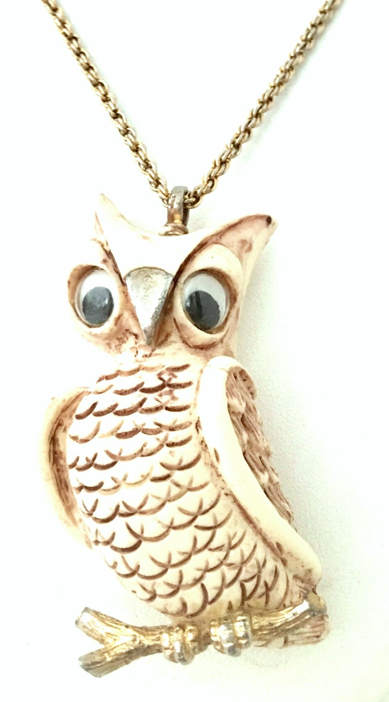 Women's or Men's 70'S Gold & Resin Carved Owl Pendant Necklace By Luca Razza For Sale