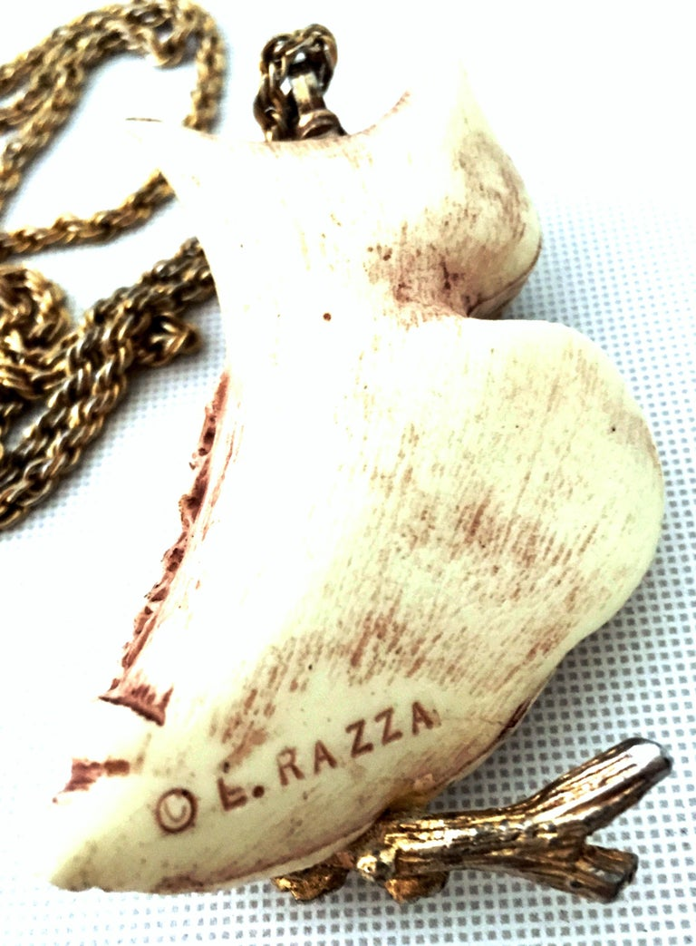70'S Gold & Resin Carved Owl Pendant Necklace By Luca Razza For Sale 5