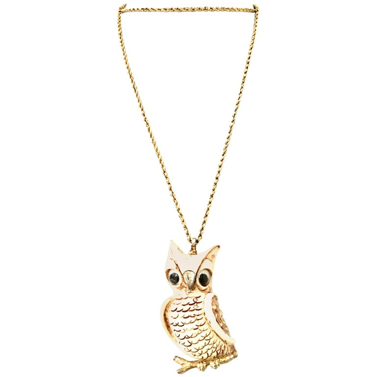 70'S Gold & Resin Carved Owl Pendant Necklace By Luca Razza For Sale