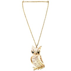 70'S Gold & Resin Carved Owl Pendant Necklace By Luca Razza