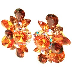 70'S Gold & Swarovski Crystal Rhinestone Earrings By, Delizza & Elster