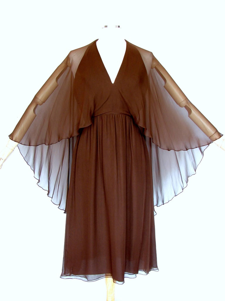 70s Halston Brown Silk Halter Dress with Attached Angel Sleeve Shawl In Good Condition For Sale In Port Saint Lucie, FL