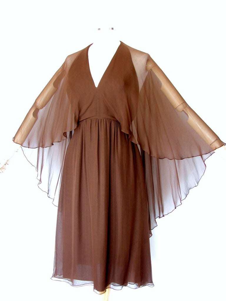Women's 70s Halston Brown Silk Halter Dress with Attached Angel Sleeve Shawl For Sale