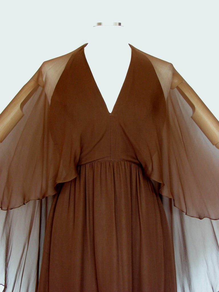 70s Halston Brown Silk Halter Dress with Attached Angel Sleeve Shawl For Sale 1