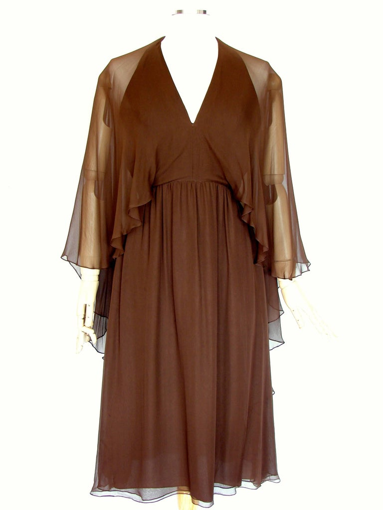 70s Halston Brown Silk Halter Dress with Attached Angel Sleeve Shawl For Sale 2