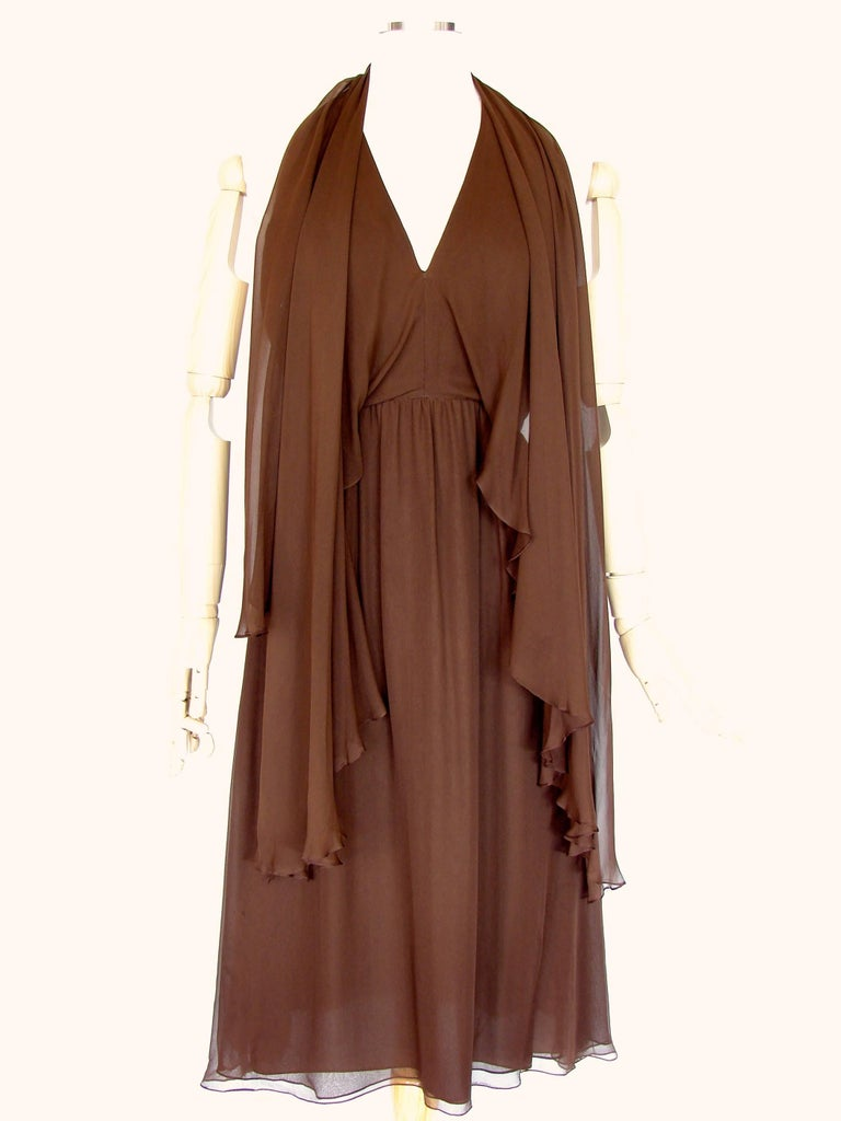 70s Halston Brown Silk Halter Dress with Attached Angel Sleeve Shawl For Sale 3