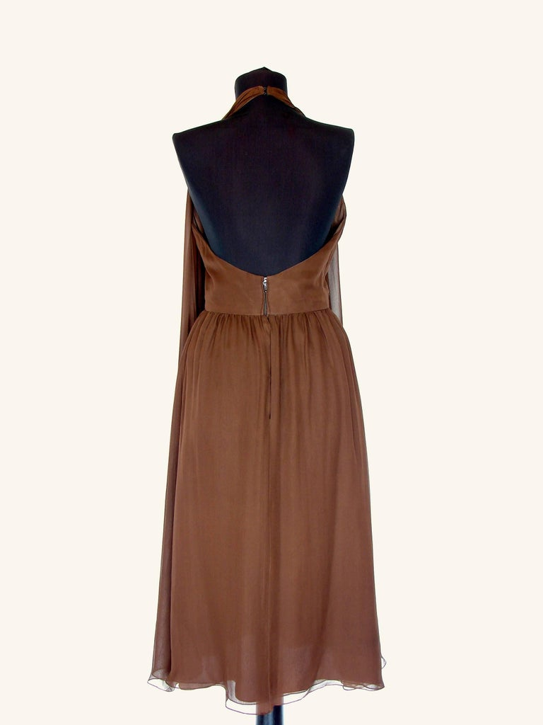 70s Halston Brown Silk Halter Dress with Attached Angel Sleeve Shawl For Sale 4
