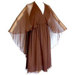70s Halston Brown Silk Halter Dress with Attached Angel Sleeve Shawl