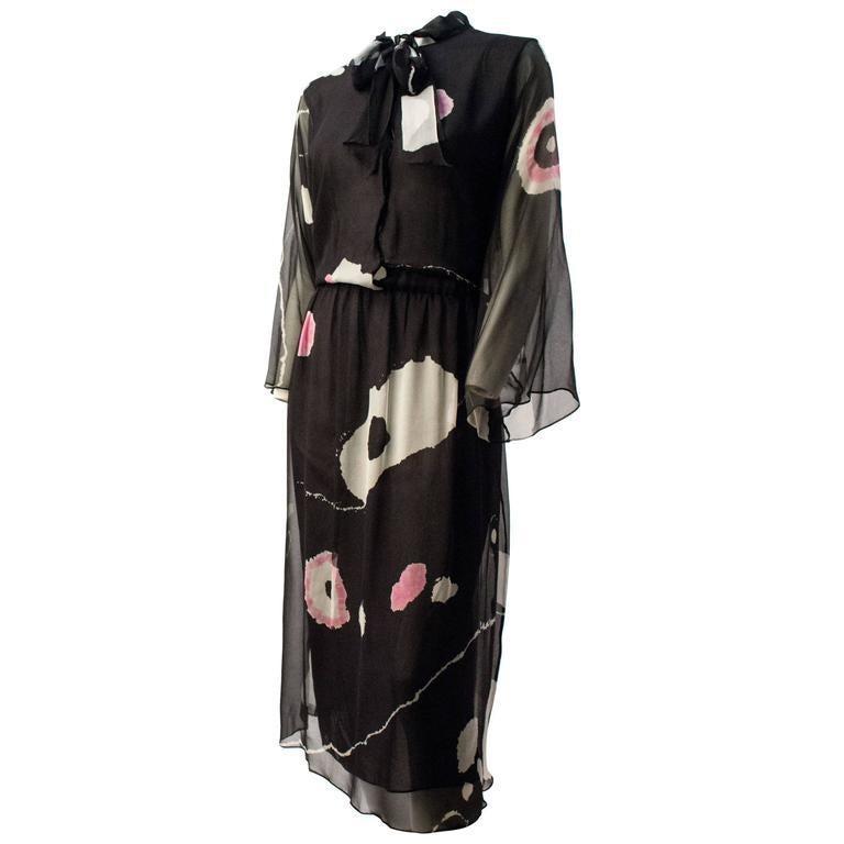 70s Hanae Mori Printed Silk Chiffon Dress In Good Condition For Sale In San Francisco, CA