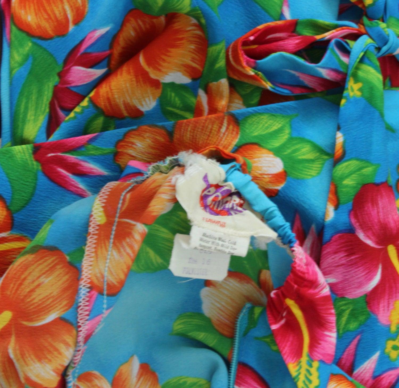 70s Hilo Hattie Pomare Halter Dress Maxi Bold Hawaiian Floral