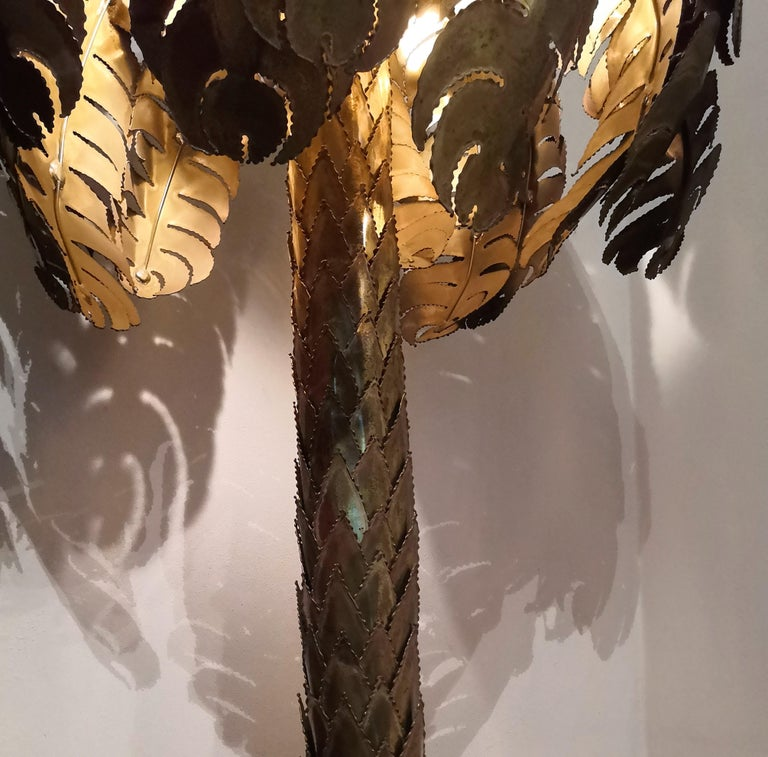 French Iconic Hollywood Regency Midcentury Maison Jansen Palm Tree Brass Floor Lamp For Sale