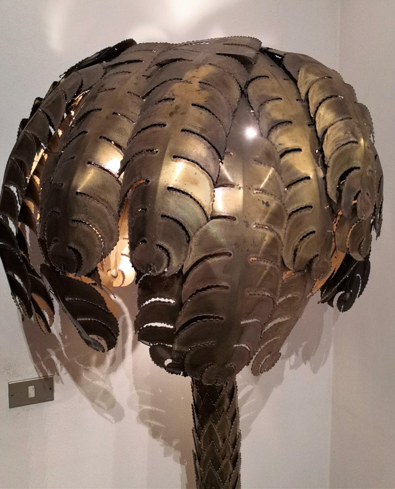 20th Century Iconic Hollywood Regency Midcentury Maison Jansen Palm Tree Brass Floor Lamp For Sale