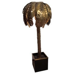 Iconic Hollywood Regency Midcentury Maison Jansen Palm Tree Brass Floor Lamp