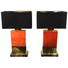 1970s Italian Deco Design Table Lamps Completely in Brass