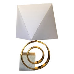 1970s Italian Modern Lamp in Brass and Carrera Marble by Giovanni Banci