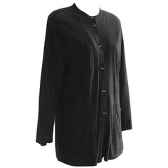70s Jean Muir Black Suede Jacket with Perforated Collar Lucite Buttons Sz 8