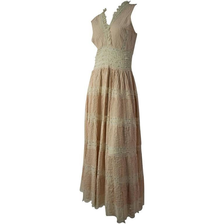 70s Lace Boho Dress In Good Condition For Sale In San Francisco, CA