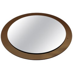 1970s Large Round Wall Mirror by Cristal Lupi Luxor