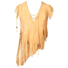 70s Leather Fringe Crop Top with Beads