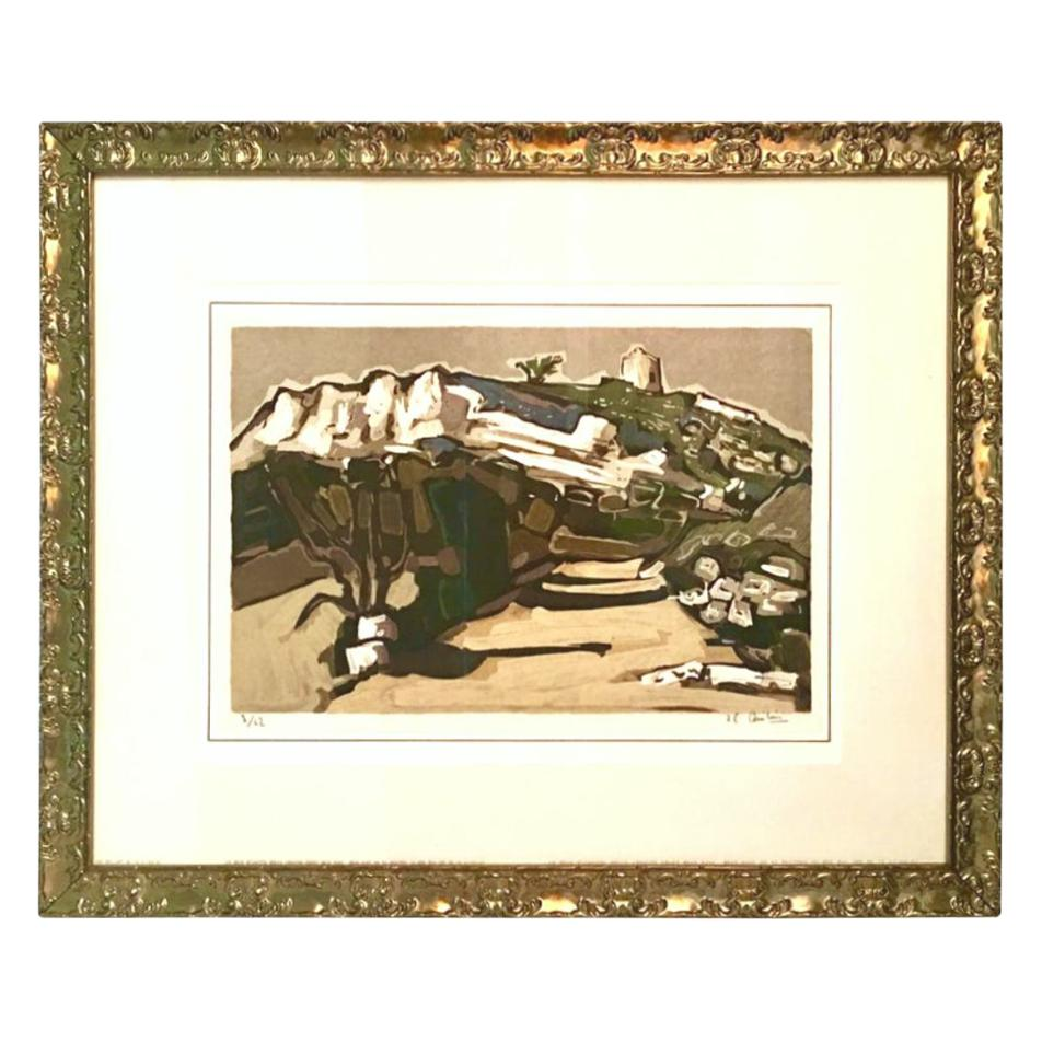 """1970'S Limited Edition Lithograph """"Le Pigeonnier"""" by Jean Claude Quilici-Signed"""