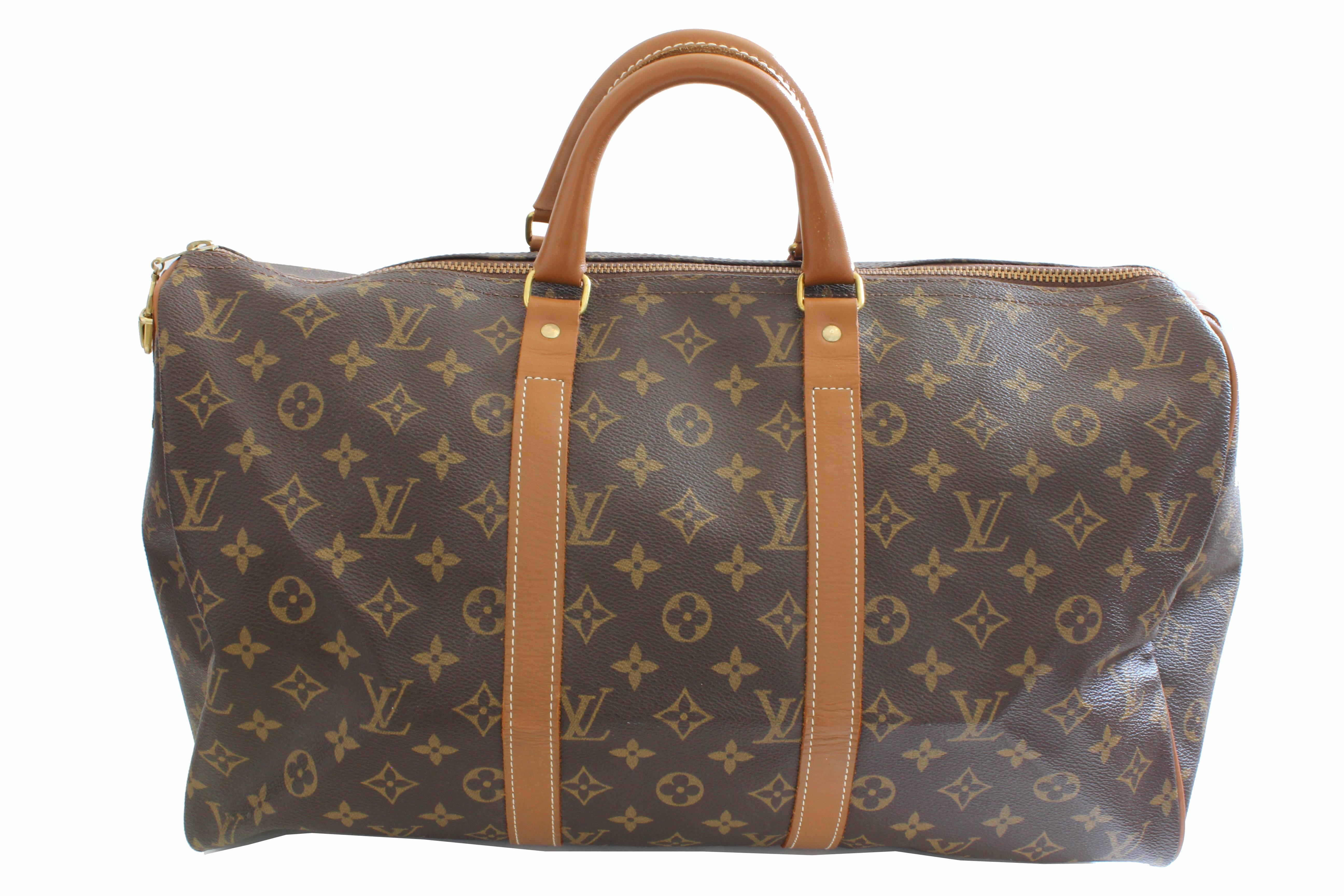 47d1e1539da4 70s Louis Vuitton Monogram Keepall Travel Duffle Bag French Company 45cm  Rare For Sale at 1stdibs