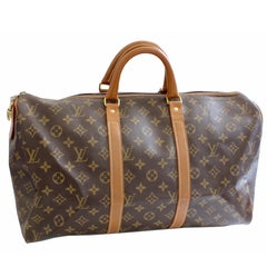 70s Louis Vuitton Monogram Keepall Travel Duffle Bag French Company 45cm Rare