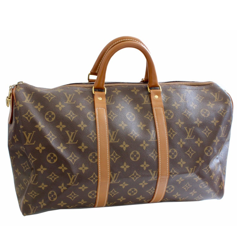 70s Louis Vuitton Monogram Keepall Travel Duffle Bag French Company 45cm Rare For